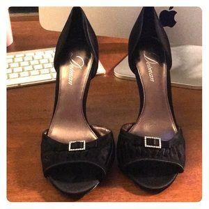 Delman Black Dressy Heels Classy & Elegant Satin
